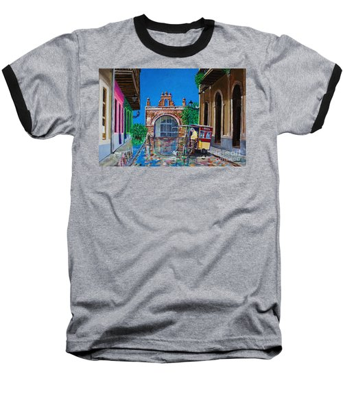 Capilla De Cristo - Old San Juan Baseball T-Shirt by The Art of Alice Terrill