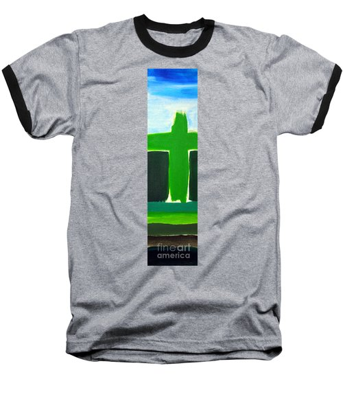 Green Cross On Hill Baseball T-Shirt