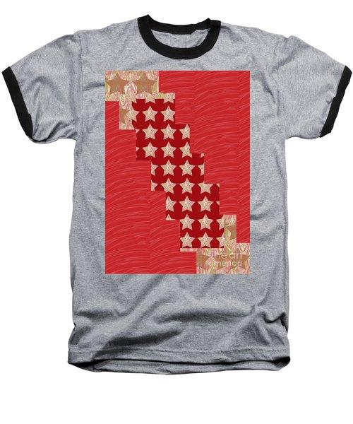 Cross Through Sparkle Stars On Red Silken Base Baseball T-Shirt by Navin Joshi