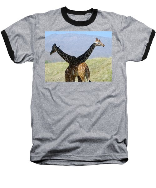 Crossed Giraffes Baseball T-Shirt