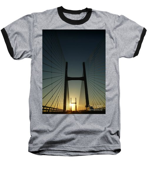 Baseball T-Shirt featuring the photograph Crossing The Severn Bridge At Sunset - Cardiff - Wales by Vicki Spindler