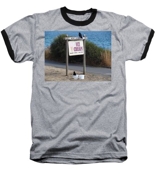 Baseball T-Shirt featuring the photograph Crow In The Bucket by Cheryl Hoyle