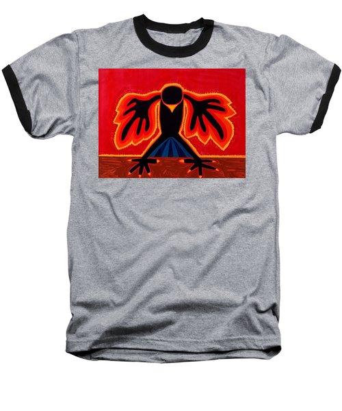 Crow Rising Original Painting Baseball T-Shirt by Sol Luckman