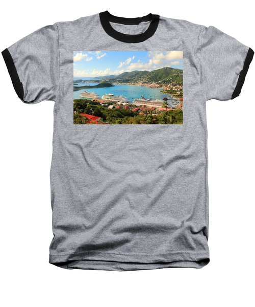 Cruise Ships In St. Thomas Usvi Baseball T-Shirt