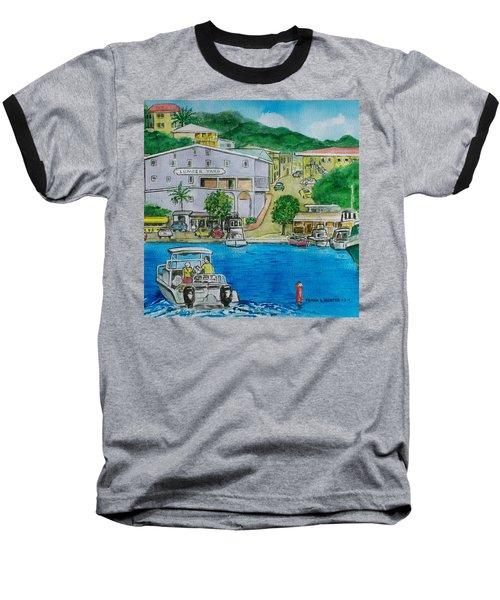 Cruz Bay St. Johns Virgin Islands Baseball T-Shirt by Frank Hunter