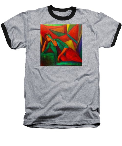 Cubism Contemplation  Baseball T-Shirt