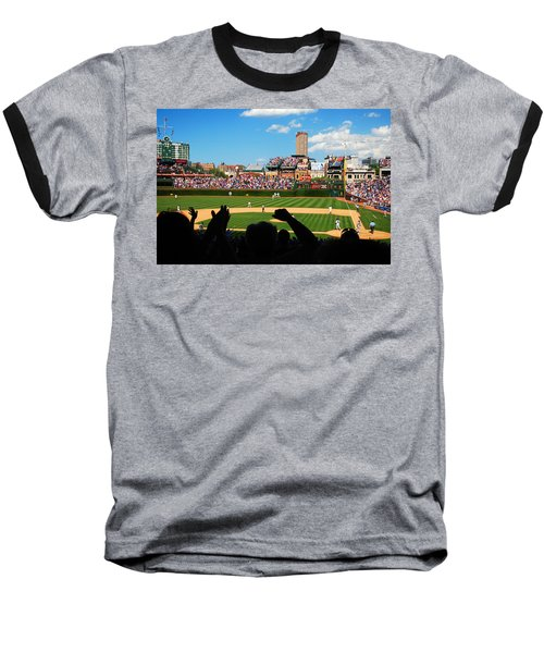 Baseball T-Shirt featuring the photograph Cubs Win by James Kirkikis