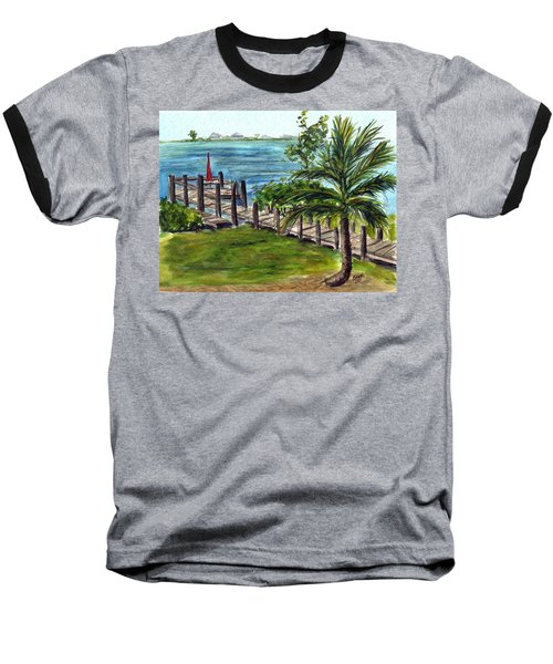 Cudjoe Dock Baseball T-Shirt by Clara Sue Beym