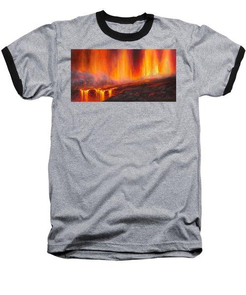 Erupting Kilauea Volcano On The Big Island Of Hawaii - Lava Curtain Baseball T-Shirt