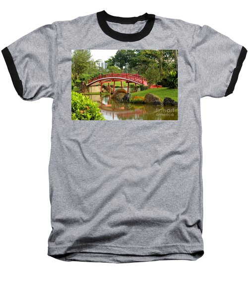 Curved Red Japanese Bridge And Stream Chinese Gardens Singapore Baseball T-Shirt