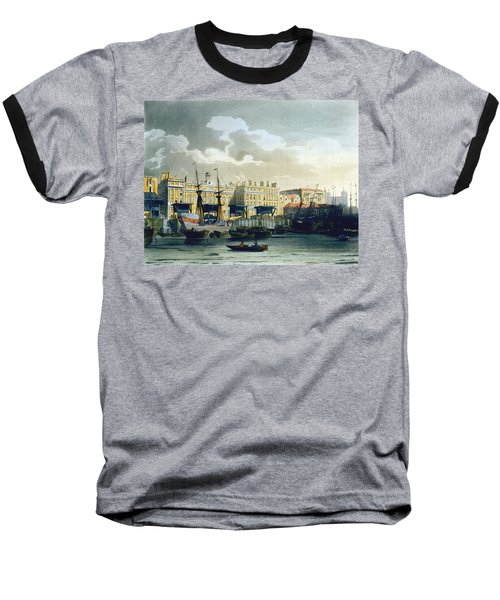 Custom House From The River Thames Baseball T-Shirt by T. & Pugin, A.C. Rowlandson