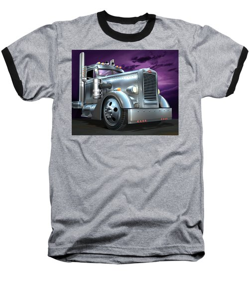 Custom Peterbilt Silver Ghost Baseball T-Shirt by Stuart Swartz
