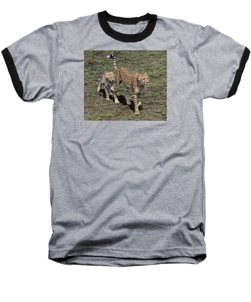 Baseball T-Shirt featuring the photograph Cute Cheetah Wait For Me Mommy by Tom Wurl