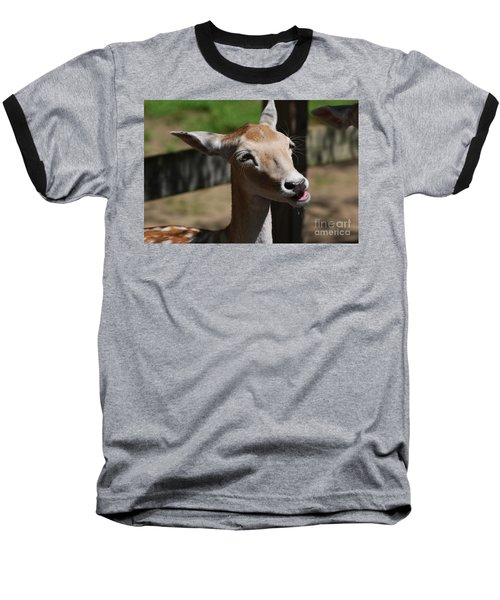 Cute Deer Baseball T-Shirt by DejaVu Designs
