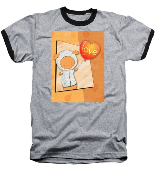 Baseball T-Shirt featuring the photograph Cute Lots Of Love Love You Cute Character Holding A Love Balloons  by Lenny Carter