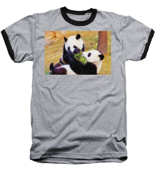 Cute Pandas Play Together Baseball T-Shirt by Lanjee Chee