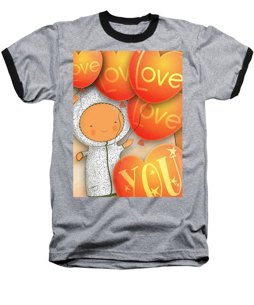 Cute Teddy With Lots Of Love Balloons Baseball T-Shirt by Lenny Carter
