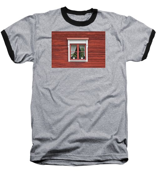 Cute Window On Red Wall Baseball T-Shirt