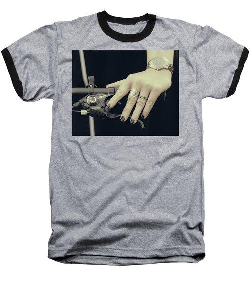 Baseball T-Shirt featuring the photograph Cycling Lady by Ari Salmela