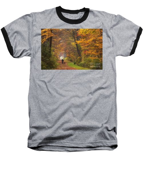 Cyclist And Dog Baseball T-Shirt