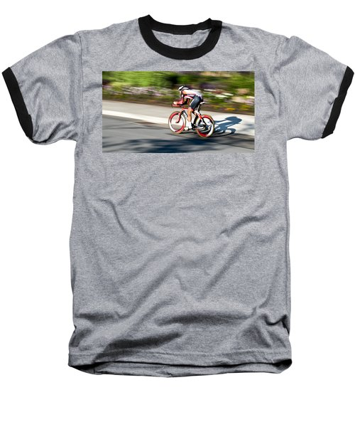 Baseball T-Shirt featuring the photograph Cyclist Racing The Clock by Kevin Desrosiers