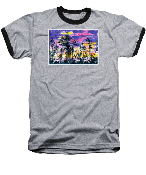 Cypress Sunset Baseball T-Shirt by Anne Marie Brown