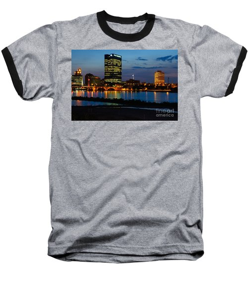 D12u152 Toledo Ohio Skyline Photo Baseball T-Shirt