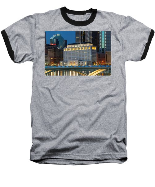 D2l496 Columbus Ohio Night Skyline  Baseball T-Shirt