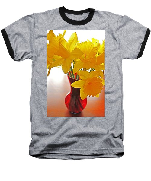 Baseball T-Shirt featuring the photograph Daffodils In Red Vase by Diane Alexander