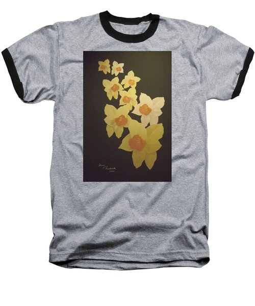 Baseball T-Shirt featuring the digital art Daffodils by Terry Frederick