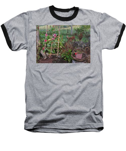 Dahlias And Chickens Baseball T-Shirt