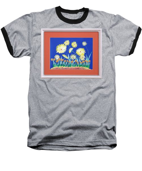 Baseball T-Shirt featuring the painting Daisies by Ron Davidson