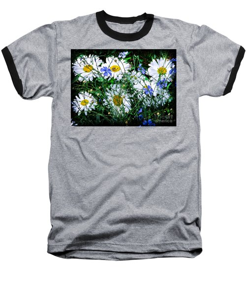 Daisies With Blue Flax And Bee Baseball T-Shirt by Roselynne Broussard