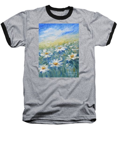 Baseball T-Shirt featuring the painting Daisies by Jane  See