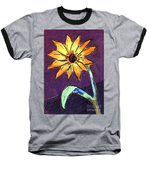 Daisy On Dark Background Baseball T-Shirt
