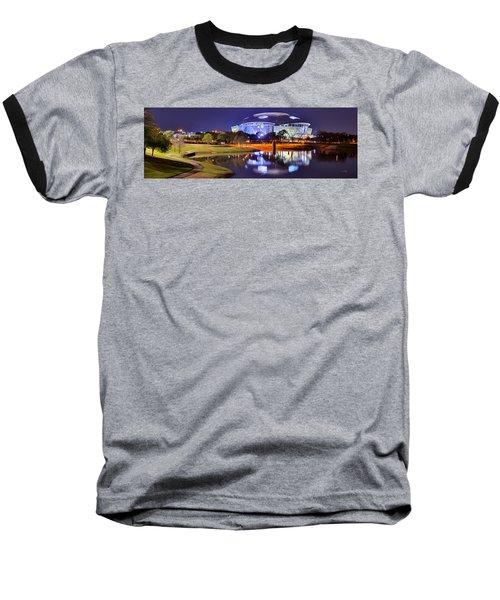 Dallas Cowboys Stadium At Night Att Arlington Texas Panoramic Photo Baseball T-Shirt by Jon Holiday