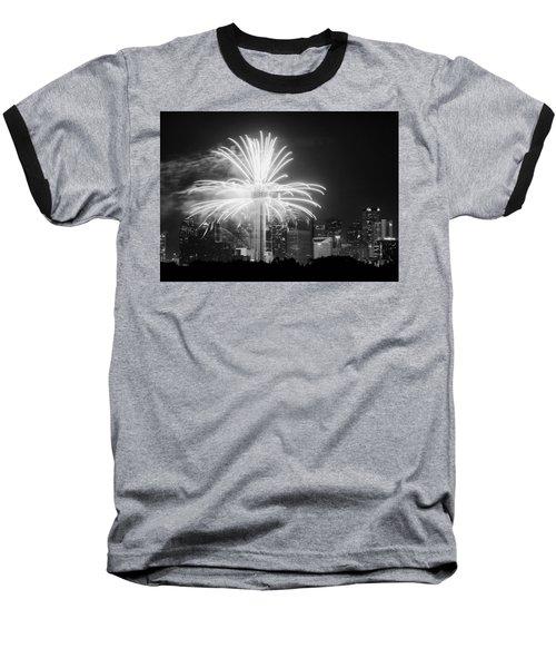 Dallas Reunion Tower Fireworks Bw 2014 Baseball T-Shirt