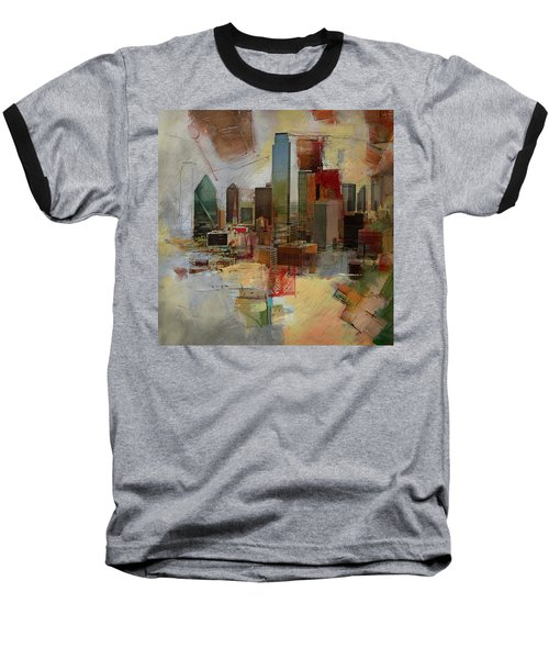 Dallas Skyline 003 Baseball T-Shirt by Corporate Art Task Force