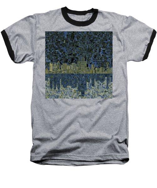 Dallas Skyline Abstract 2 Baseball T-Shirt