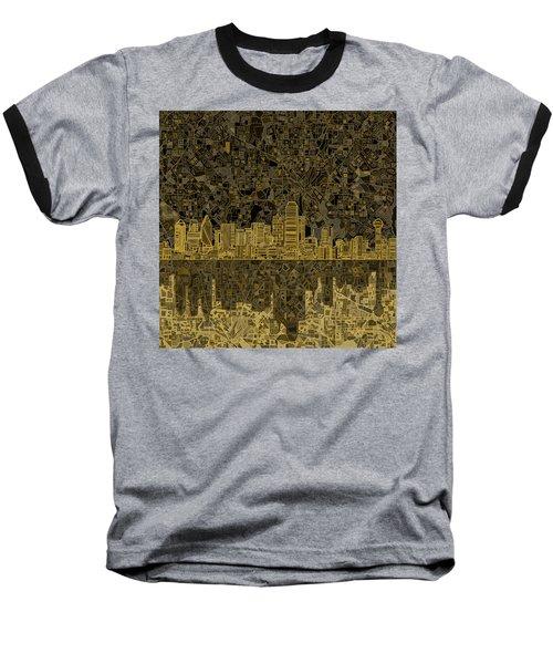 Dallas Skyline Abstract 3 Baseball T-Shirt