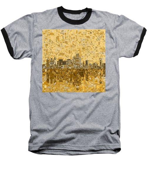 Dallas Skyline Abstract 6 Baseball T-Shirt by Bekim Art