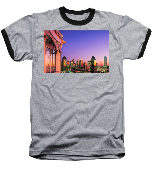Baseball T-Shirt featuring the photograph Dallas Skyline At Dusk by David Perry Lawrence