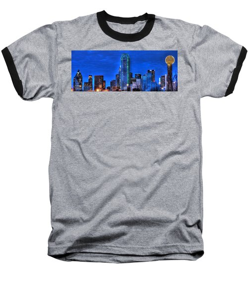 Dallas Skyline Hd Baseball T-Shirt by Jonathan Davison