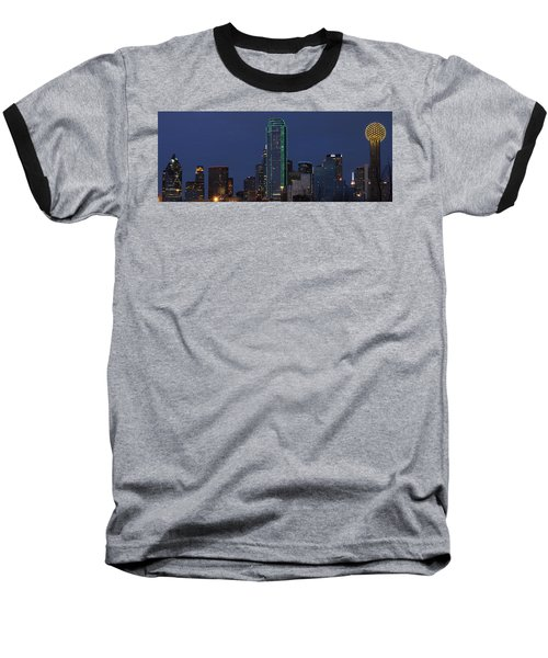 Dallas Skyline Baseball T-Shirt by Jonathan Davison