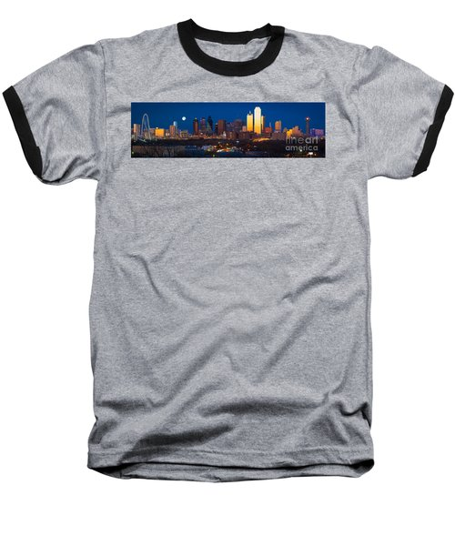 Dallas Skyline Panorama Baseball T-Shirt by Inge Johnsson