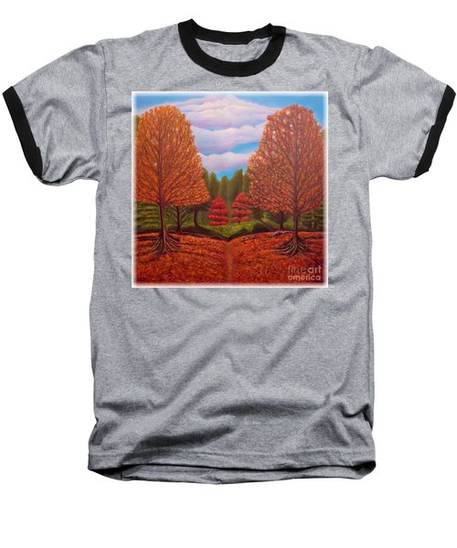 Baseball T-Shirt featuring the painting Dance Of Autumn Gold With Blue Skies Revised by Kimberlee Baxter