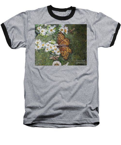 Baseball T-Shirt featuring the painting Dance With The Daisies by Kimberlee Baxter