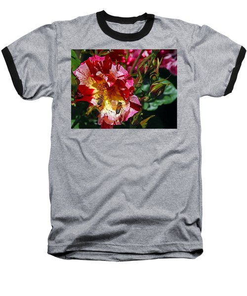 Baseball T-Shirt featuring the photograph Dancing Bees And Wild Roses by Absinthe Art By Michelle LeAnn Scott