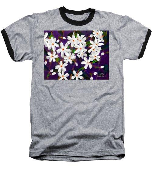 Dancing Coral Jasmines Baseball T-Shirt by Latha Gokuldas Panicker