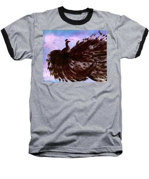 Dancing Peacock Blue Pink Wash Baseball T-Shirt by Anita Lewis